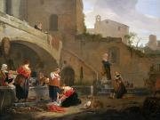 Clothes Clothing Paintings - Washerwomen by a Roman Fountain by Thomas Wyck