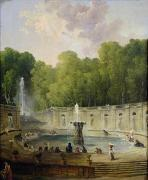 Fountains Framed Prints - Washerwomen in a Park Framed Print by Hubert Robert