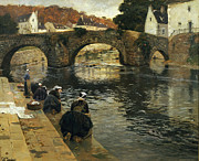Stone Bridge Framed Prints - Washerwomen in the Morning at Quimperle  Framed Print by Fritz Thaulow