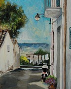 Scooter Paintings - Washing Day In Via Custoza by Anne Parker