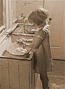Padre Art Posters - Washing Eggs Sepia Poster by Padre Art