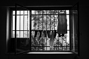 Window Bars Prints - Washing Hanging Off Security Cage In An Apartment In Buenos Aires Print by Joe Fox