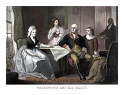 Us Founding Father Framed Prints - Washington And His Family Framed Print by War Is Hell Store