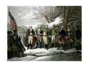 4th July Drawings Framed Prints - Washington and His Generals  Framed Print by War Is Hell Store