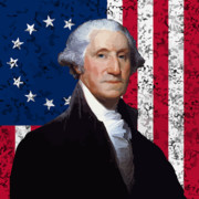 President Digital Art Prints - Washington and The American Flag Print by War Is Hell Store
