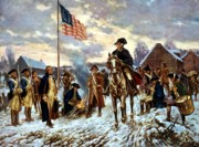 Flag Painting Framed Prints - Washington at Valley Forge Framed Print by War Is Hell Store