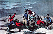 First President Framed Prints - Washington Crossing The Delaware, 1776 Framed Print by Photo Researchers