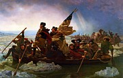 Patriots Painting Posters - Washington Crossing The Delaware Poster by Pg Reproductions