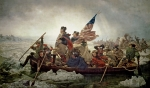 Flag Paintings - Washington Crossing the Delaware River by Emanuel Gottlieb Leutze