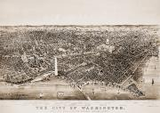 Aerial View Framed Prints - Washington D.c., 1892 Framed Print by Granger