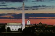Washington Dc Landmarks At Sunrise I Print by Clarence Holmes