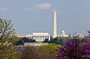 United States Government Originals - Washington DC Skyline with Lincoln Memorial Washington Monument by Dasha Rosato