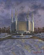 Tree Painting Originals - Washington DC Temple by Jeff Brimley