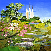 The Church Mixed Media Metal Prints - Washington DC Temple Metal Print by Robin Birrell