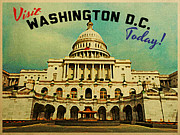 Washington D.c. Digital Art Metal Prints - Washington D.C. White House Metal Print by Vintage Poster Designs