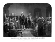 George Washington Drawings Framed Prints - Washington Delivering His Inaugural Address Framed Print by War Is Hell Store