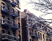 New York City Fire Escapes Posters - Washington Heights Snow Day Poster by Sarah Loft
