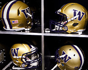Huskies Photo Framed Prints - Washington Huskies Football Helmets  Framed Print by Replay Photos