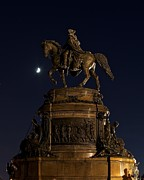 Benjamin Franklin Parkway Photos - Washington in the Moonlight by Shawn Colborn