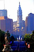 Benjamin Franklin Parkway Prints - Washington Looking Over to City Hall Print by Bill Cannon