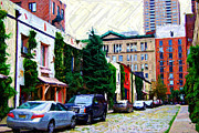 Nyc Digital Art Metal Prints - Washington Mews Sketch Metal Print by Randy Aveille