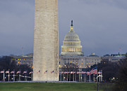 Flags Flying Prints - Washington Monument and United States Capitol Buildings - Washington DC Print by Brendan Reals