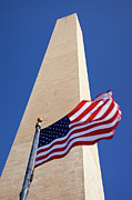 Honor Posters - Washington Monument Flag Poster by Brian Jannsen