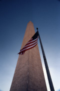 Flag Pole Posters - Washington Monument Single Flag Poster by Skip Willits