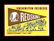 Redskins Posters - Washington Redskins 1959 Pennant Card Poster by Paul Van Scott