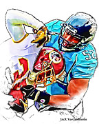 Jaguars Prints - Washington Redskins Keiland Williams - Jacksonville Jaguars Daryl Smith Print by Jack Kurzenknabe