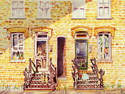 Brick Drawings Prints - Washington Rowhouse 1942 Print by Candace  Hardy