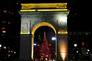 Washington Square Framed Prints - Washington Square Arch at Christmas Framed Print by Randy Aveille