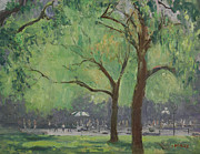 Washington Square Paintings - Washington Square Park in August by Walter Lynn Mosley