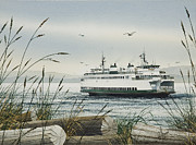 San Juan Painting Metal Prints - Washington State Ferry Metal Print by James Williamson