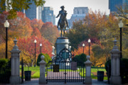 New England States Prints - Washington statue in Autumn Print by Susan Cole Kelly