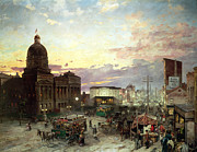 Shops Paintings - Washington Street Indianapolis at Dusk by Theodor Groll