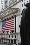 New York Stock Exchange Prints - Washington surveys the market Print by David Bearden