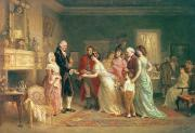 Revolutionary War Paintings - Washingtons Birthday by Jean Leon Jerome Ferris