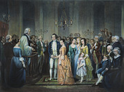 Martha Washington Framed Prints - Washingtons Marriage Framed Print by Granger