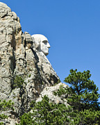 Lincoln City Posters - Washinton on Mt Rushmore Poster by Jon Berghoff