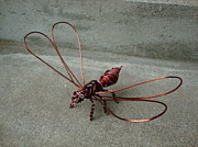 Wire Sculpture Sculptures - Wasp by Scott Faucett