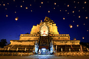Night Lamp Prints - Wat Chedi Luang Print by Anek Suwannaphoom