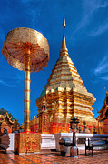Spirituality Digital Art Metal Prints - Wat Phrathat Doi Suthep Metal Print by Adrian Evans