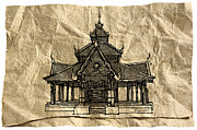 Thai Drawings - Wat Pong Sanook by Panupong Roopyai