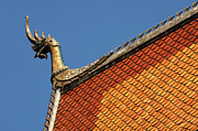 Wat Photos - Wat Roof Detail by Bob Christopher