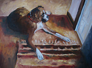 Boxer Painting Prints - Watch Dog Print by Courtney Weed