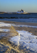 Rhode Island Photos - Watch Hill Beach and Lighthouse by John Burk