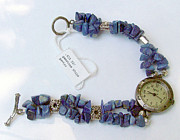 Sterling Silver Bracelet Art - Watch in Lapis Lazuli by Caroline King