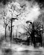 Creepy Digital Art Metal Prints - Watcher In The Woods Metal Print by Datha Thompson