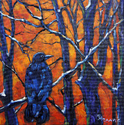 Original  By Artist Paintings - Watcher in the woods by Richard T Pranke